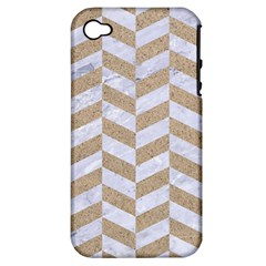 CHEVRON1 WHITE MARBLE & SAND Apple iPhone 4/4S Hardshell Case (PC+Silicone)