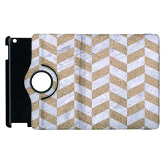 Chevron1 White Marble & Sand Apple Ipad 3/4 Flip 360 Case by trendistuff