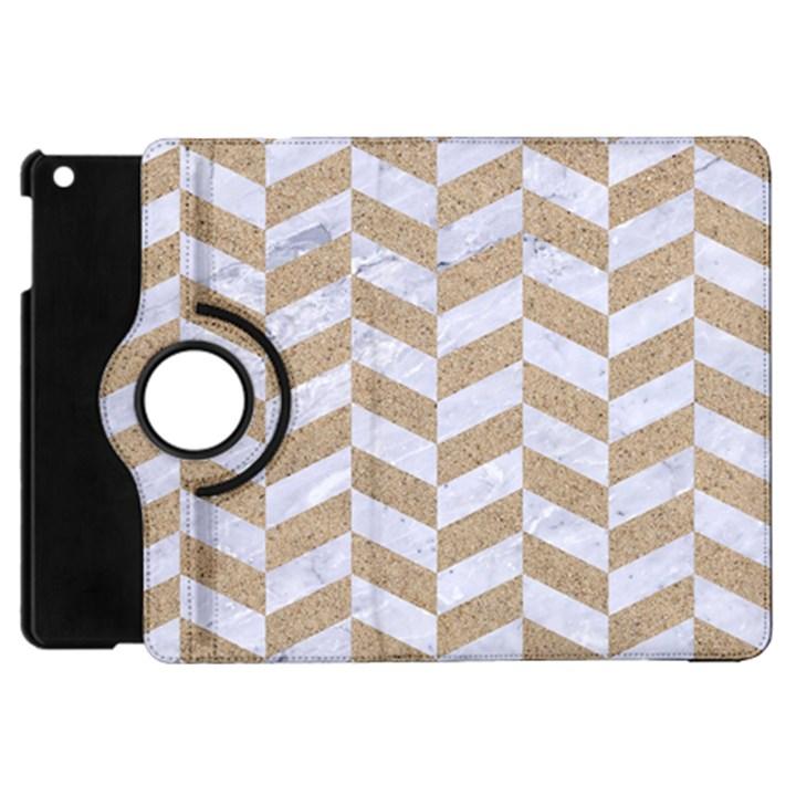 CHEVRON1 WHITE MARBLE & SAND Apple iPad Mini Flip 360 Case
