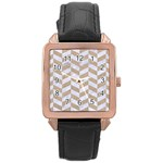 CHEVRON1 WHITE MARBLE & SAND Rose Gold Leather Watch  Front