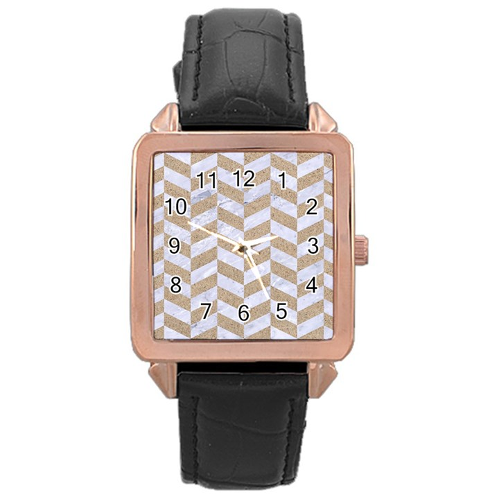 CHEVRON1 WHITE MARBLE & SAND Rose Gold Leather Watch