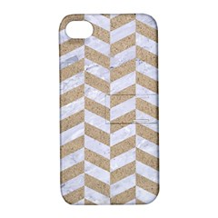 Chevron1 White Marble & Sand Apple Iphone 4/4s Hardshell Case With Stand by trendistuff