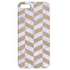 CHEVRON1 WHITE MARBLE & SAND Apple iPhone 5 Hardshell Case with Stand