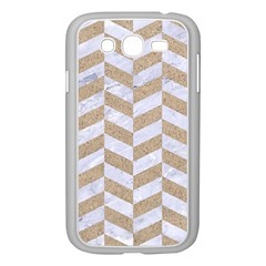 Chevron1 White Marble & Sand Samsung Galaxy Grand Duos I9082 Case (white)