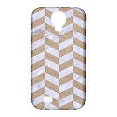 CHEVRON1 WHITE MARBLE & SAND Samsung Galaxy S4 Classic Hardshell Case (PC+Silicone)