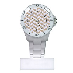Chevron1 White Marble & Sand Plastic Nurses Watch