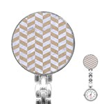 CHEVRON1 WHITE MARBLE & SAND Stainless Steel Nurses Watch Front