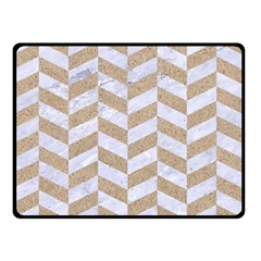 CHEVRON1 WHITE MARBLE & SAND Double Sided Fleece Blanket (Small)