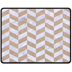 Chevron1 White Marble & Sand Double Sided Fleece Blanket (medium)