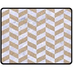 CHEVRON1 WHITE MARBLE & SAND Double Sided Fleece Blanket (Medium)  58.8 x47.4 Blanket Front