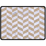CHEVRON1 WHITE MARBLE & SAND Double Sided Fleece Blanket (Large)  80 x60 Blanket Front