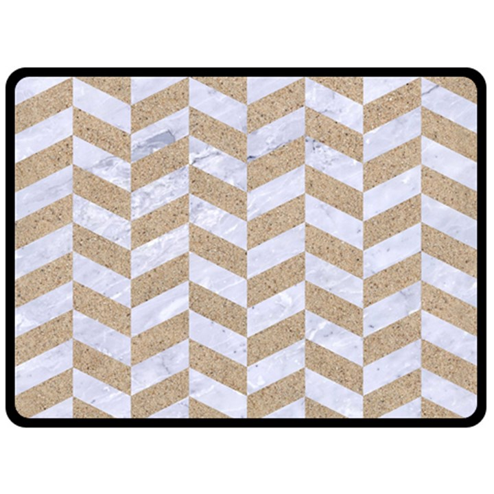 CHEVRON1 WHITE MARBLE & SAND Double Sided Fleece Blanket (Large)