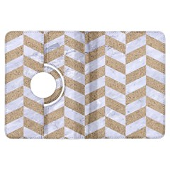 Chevron1 White Marble & Sand Kindle Fire Hdx Flip 360 Case by trendistuff