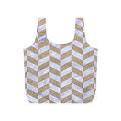 CHEVRON1 WHITE MARBLE & SAND Full Print Recycle Bags (S)