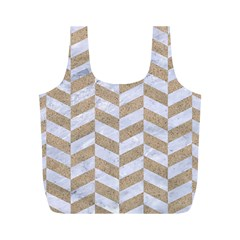 CHEVRON1 WHITE MARBLE & SAND Full Print Recycle Bags (M)