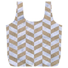 CHEVRON1 WHITE MARBLE & SAND Full Print Recycle Bags (L)