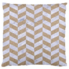 CHEVRON1 WHITE MARBLE & SAND Large Flano Cushion Case (Two Sides)