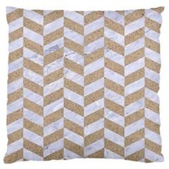 Chevron1 White Marble & Sand Large Flano Cushion Case (two Sides)