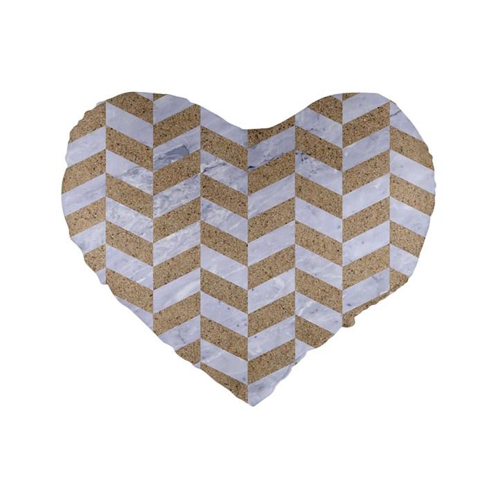CHEVRON1 WHITE MARBLE & SAND Standard 16  Premium Flano Heart Shape Cushions