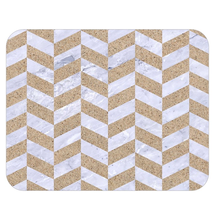 CHEVRON1 WHITE MARBLE & SAND Double Sided Flano Blanket (Medium)