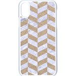 CHEVRON1 WHITE MARBLE & SAND Apple iPhone X Seamless Case (White) Front