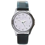 BRICK2 WHITE MARBLE & SAND (R) Round Metal Watch Front