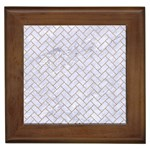 BRICK2 WHITE MARBLE & SAND (R) Framed Tiles