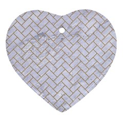 Brick2 White Marble & Sand (r) Ornament (heart) by trendistuff
