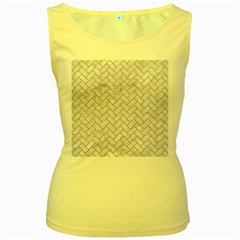 BRICK2 WHITE MARBLE & SAND (R) Women s Yellow Tank Top