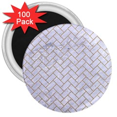 BRICK2 WHITE MARBLE & SAND (R) 3  Magnets (100 pack)