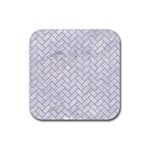 BRICK2 WHITE MARBLE & SAND (R) Rubber Coaster (Square)