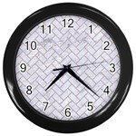 BRICK2 WHITE MARBLE & SAND (R) Wall Clocks (Black)