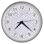 BRICK2 WHITE MARBLE & SAND (R) Wall Clocks (Silver)