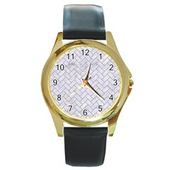 BRICK2 WHITE MARBLE & SAND (R) Round Gold Metal Watch