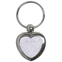 BRICK2 WHITE MARBLE & SAND (R) Key Chains (Heart)