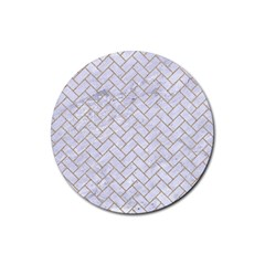 BRICK2 WHITE MARBLE & SAND (R) Rubber Round Coaster (4 pack)