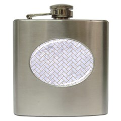 BRICK2 WHITE MARBLE & SAND (R) Hip Flask (6 oz)