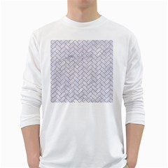 BRICK2 WHITE MARBLE & SAND (R) White Long Sleeve T-Shirts