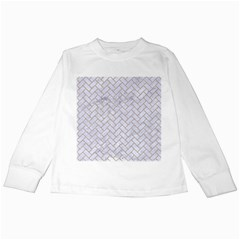 BRICK2 WHITE MARBLE & SAND (R) Kids Long Sleeve T-Shirts