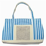 BRICK2 WHITE MARBLE & SAND (R) Striped Blue Tote Bag Front