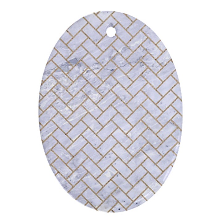 BRICK2 WHITE MARBLE & SAND (R) Oval Ornament (Two Sides)