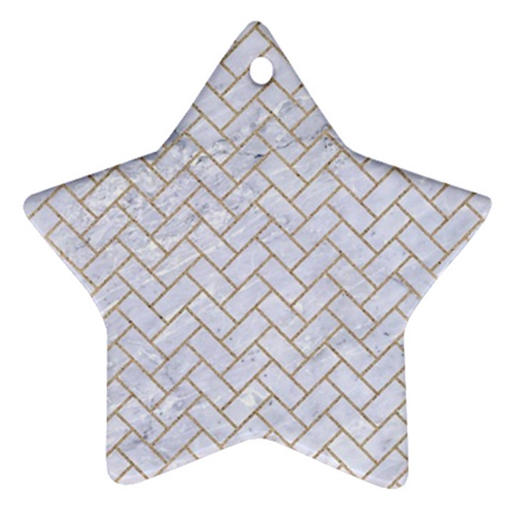 BRICK2 WHITE MARBLE & SAND (R) Star Ornament (Two Sides)