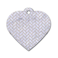 BRICK2 WHITE MARBLE & SAND (R) Dog Tag Heart (Two Sides)