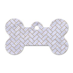 BRICK2 WHITE MARBLE & SAND (R) Dog Tag Bone (Two Sides)