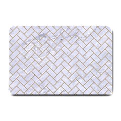 BRICK2 WHITE MARBLE & SAND (R) Small Doormat