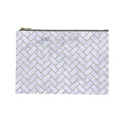 BRICK2 WHITE MARBLE & SAND (R) Cosmetic Bag (Large)