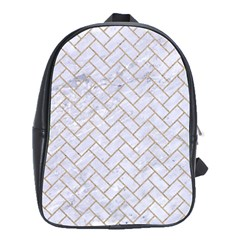 BRICK2 WHITE MARBLE & SAND (R) School Bag (Large)