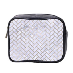 Brick2 White Marble & Sand (r) Mini Toiletries Bag 2 Side by trendistuff