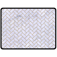 Brick2 White Marble & Sand (r) Fleece Blanket (large)  by trendistuff
