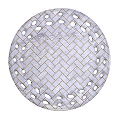 BRICK2 WHITE MARBLE & SAND (R) Ornament (Round Filigree)